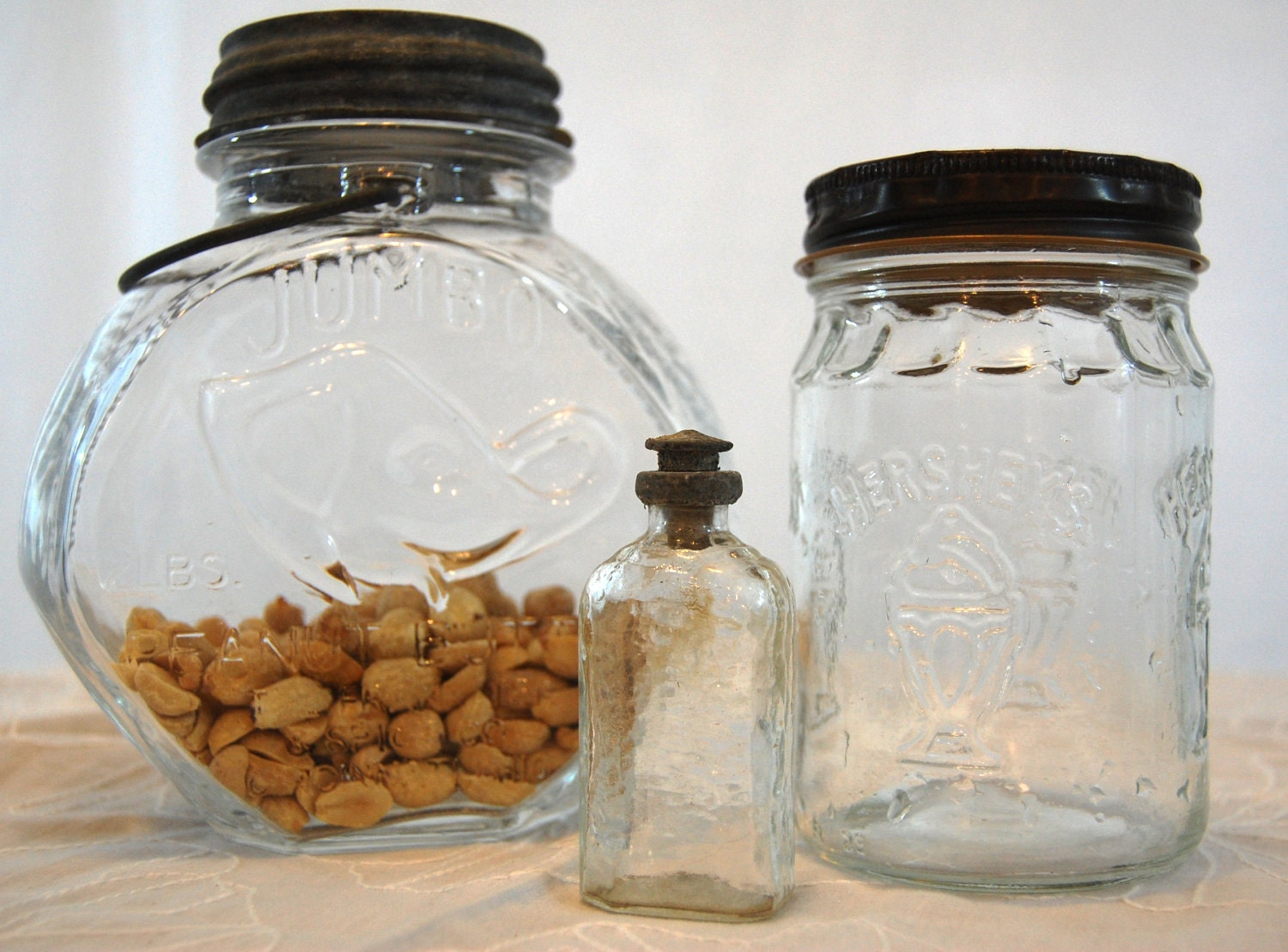 Instant Collection of Vintage Clear Glass Jars and Bottle - TheEclecticInterior