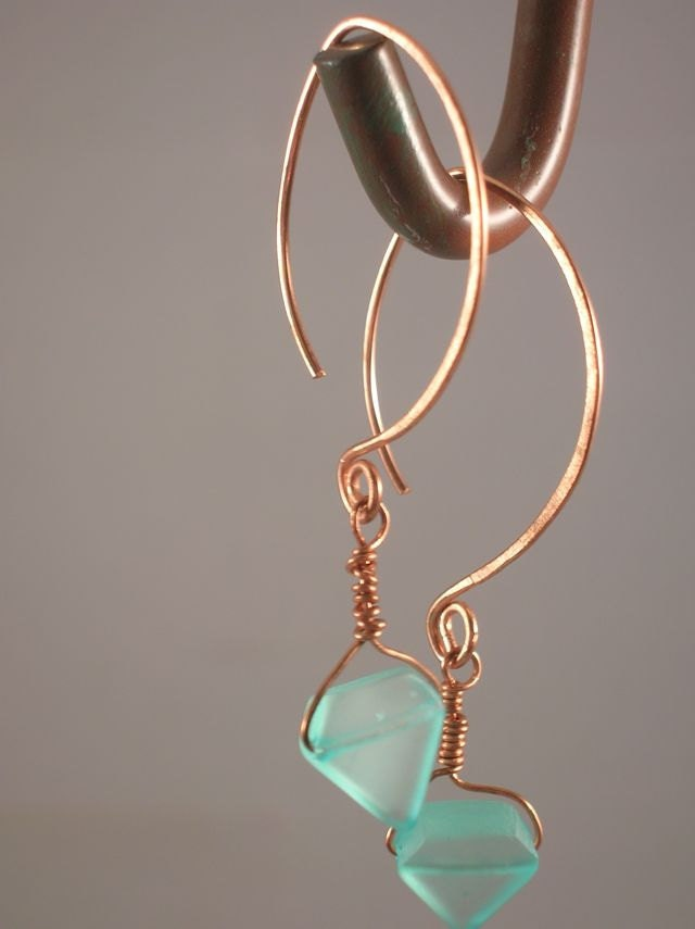Copper & Acrylic Earrings with handmade earwires