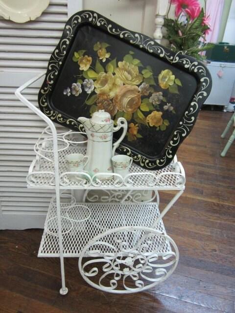 Vintage Wrought Iron Garden Tea Cart by rosesnmygarden on Etsy