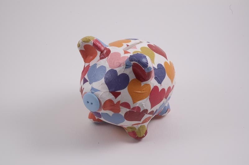 I Heart Hearts Decoupage Piggy Bank