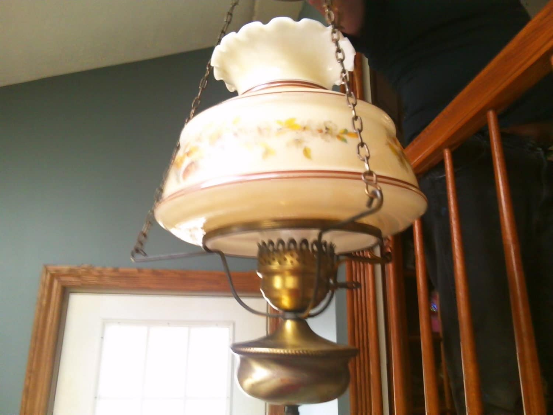 sale swag lamp sale vintage hanging hand painted milk glass. Black Bedroom Furniture Sets. Home Design Ideas