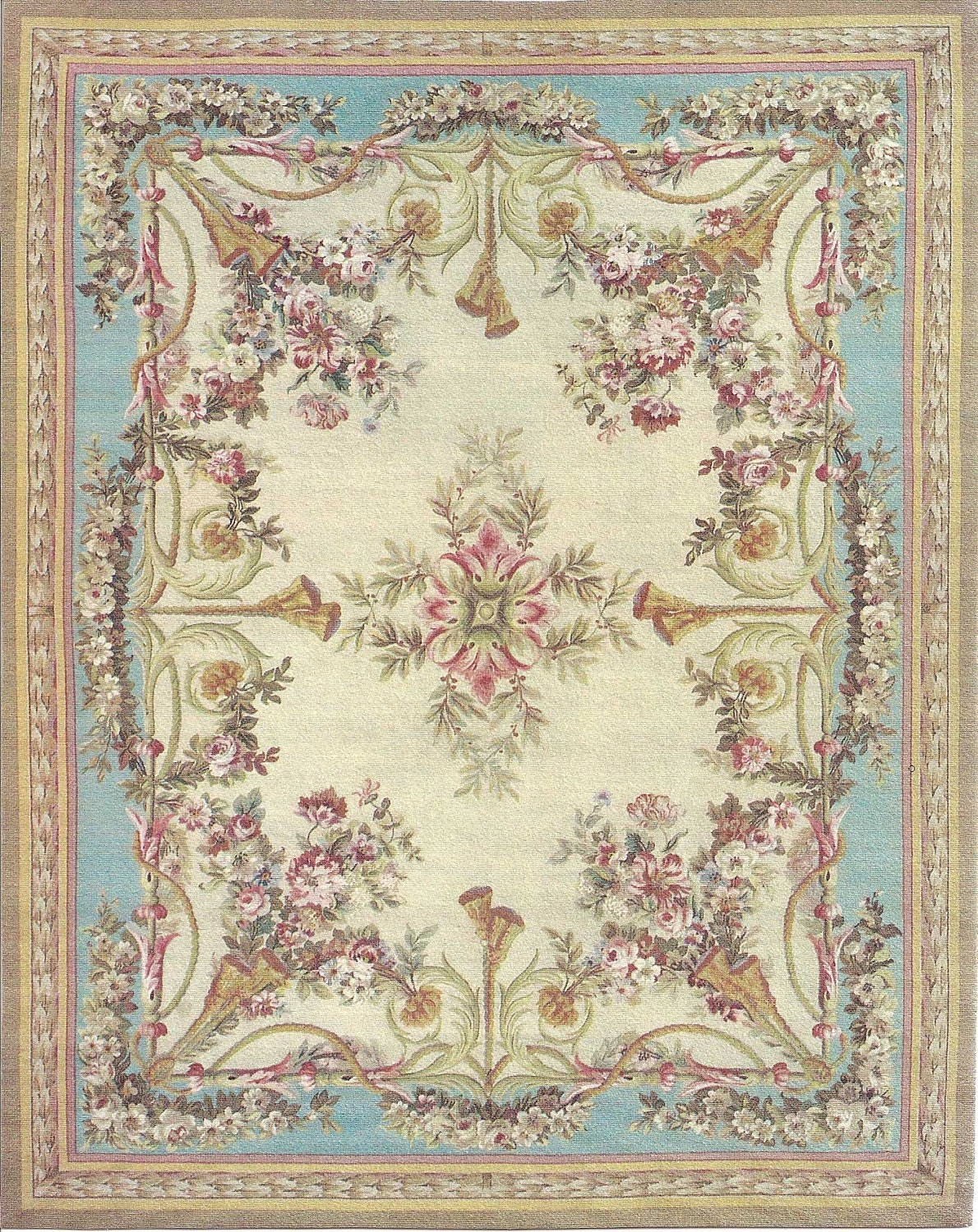 "5""x6"" French Victorian Shabby Chic dollhouse miniature area rug - GinnysDollhouse"