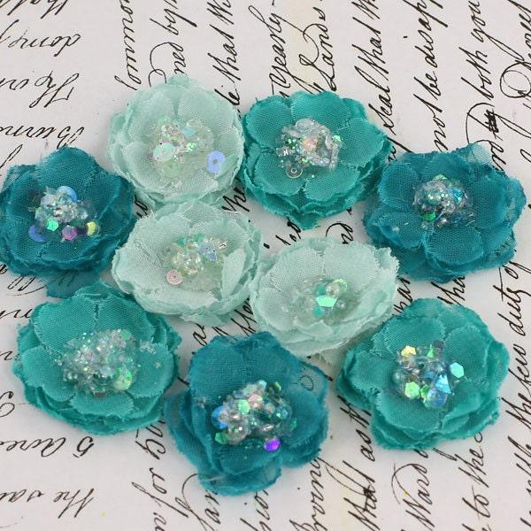 Prima Fabric Flowers Tasha Teal 556921 Turquoise Aqua - ScrappyStuffSupplies