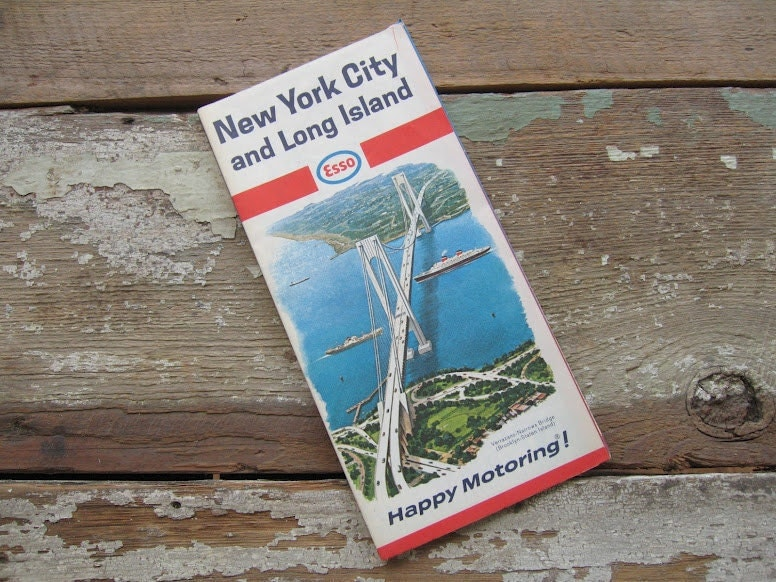 New York City & Long Island Vintage Road Map 1966 - cottagenestinteriors