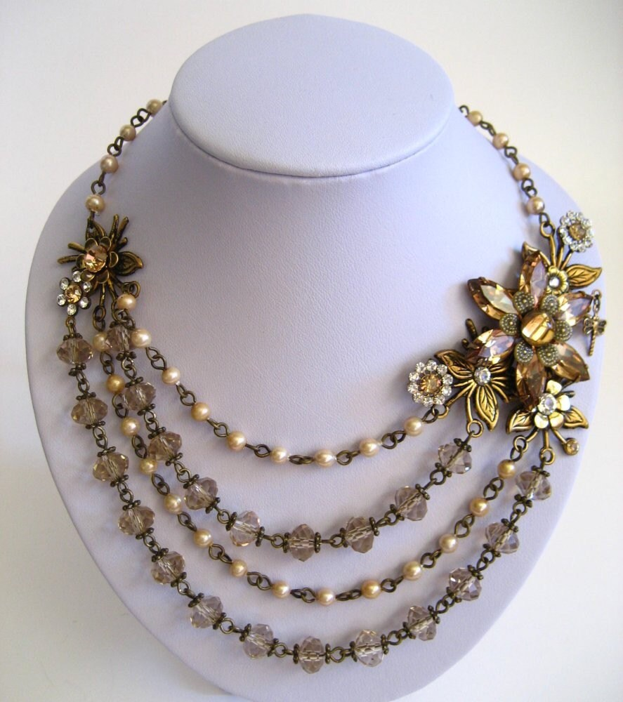 PHOEBES FLOWER 4 Row Asymetrical Necklace with Vintage Pearls and Light Colorado Topaz Swarovski Crystals in Antiqued Brass