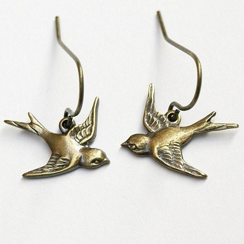 Handmade Jewelry on Etsy - Simple and Sweet Swallow Earrings by chrysdesignsjewelry