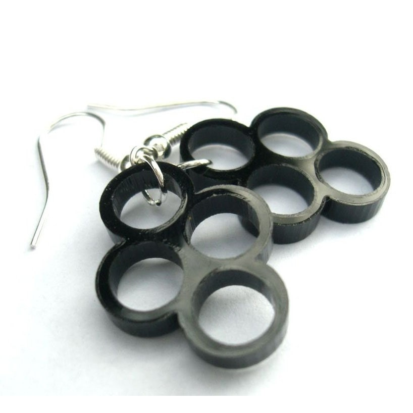 Multiply- proliferating cell earrings in black