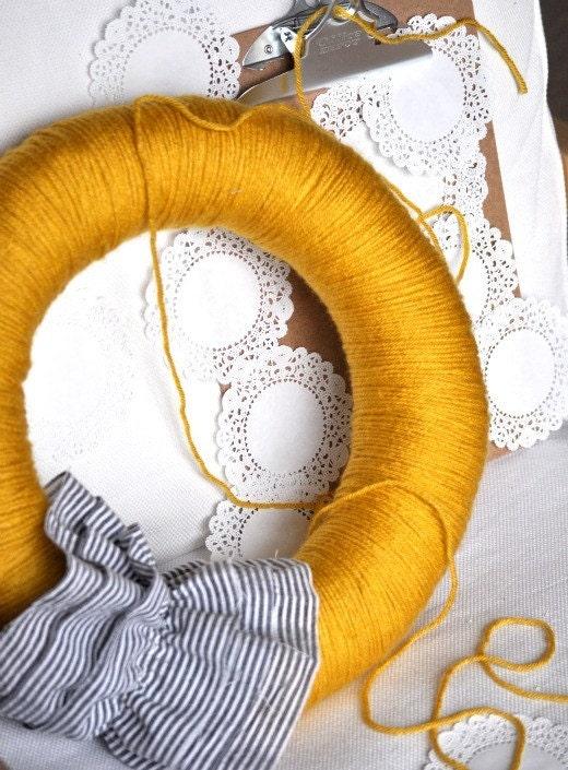 sunny, spring yellow and seersucker door sweater