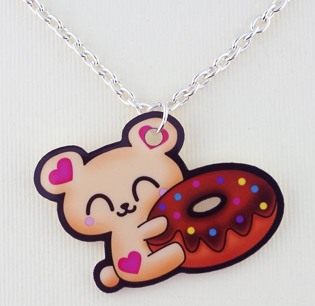 SALE Kawaii Bear holding Donut Printed Acrylic Pendant Cute Japanese harajuku lolita anime style/inspired