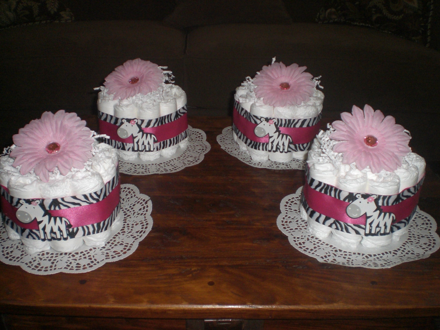 Cake Centerpieces For Baby Shower : Zebra Hot Pink Diaper Cake BAby SHower by ...