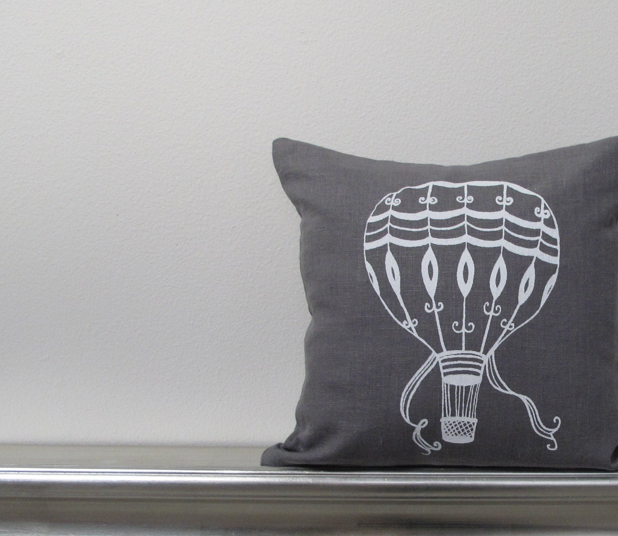 Pillow Cover - Vintage Hot Air Balloon in White on Gray Linen- 12 x 12 inches by Sweetnature Designs - SweetnatureDesigns