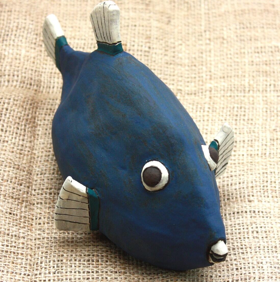 Ceramic fish sculpture exotic fish funky blue by zenceramics for Ceramic fish sculpture