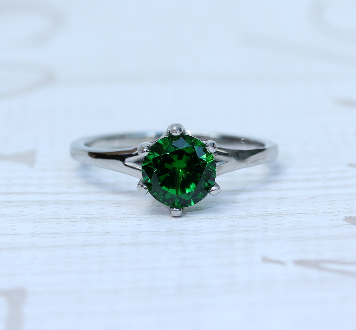 1.5ct Lab emerald solitaire ring in Titanium or White Gold  engagement ring  wedding ring  handmade ring