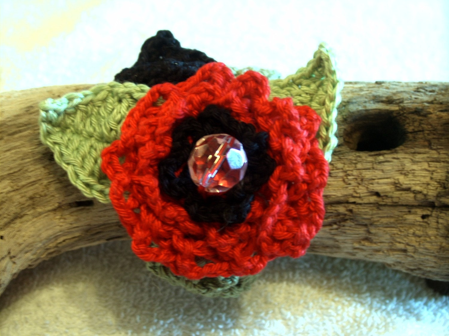 A Rose for You /Crocheted  Bracelet