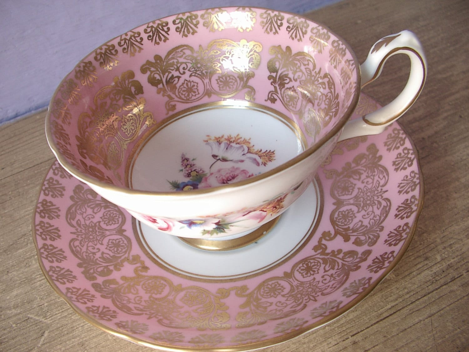 Antique 1940's Grosvenor pink tea cup and saucer set, English tea cup set, pink and gold bone china tea cup, pink tea set, pink wedding gift - ShoponSherman