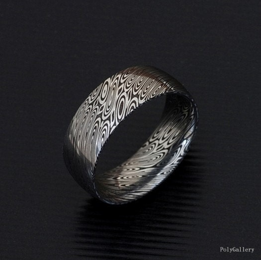Non Metal Wedding Bands >> Genuine stainless Damascus Steel Mens Ring PD18 by polygallery
