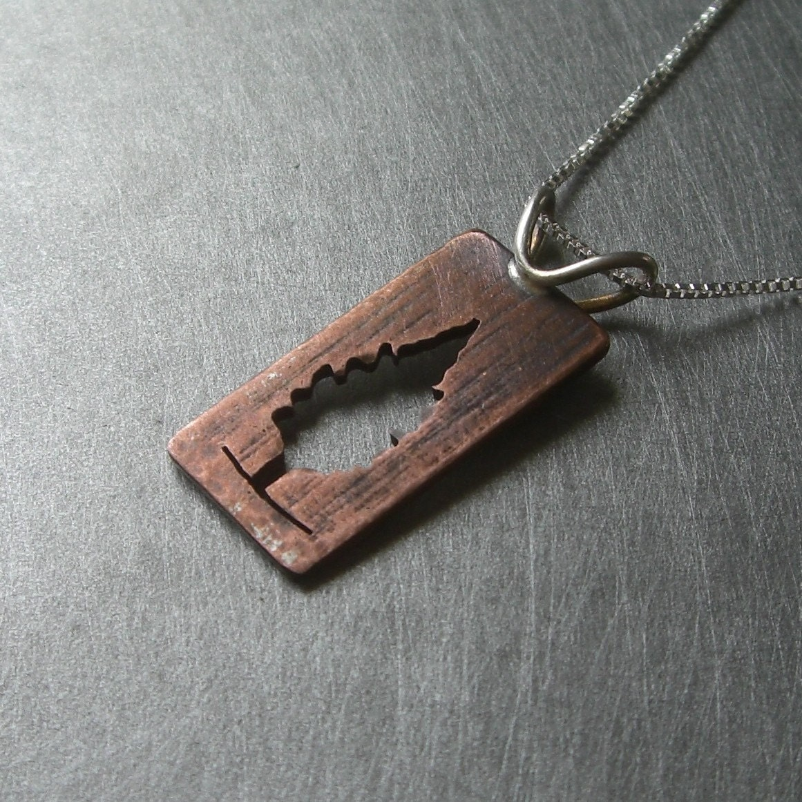 Copper/Silver Reversible Cedar Tree Pendant (back)
