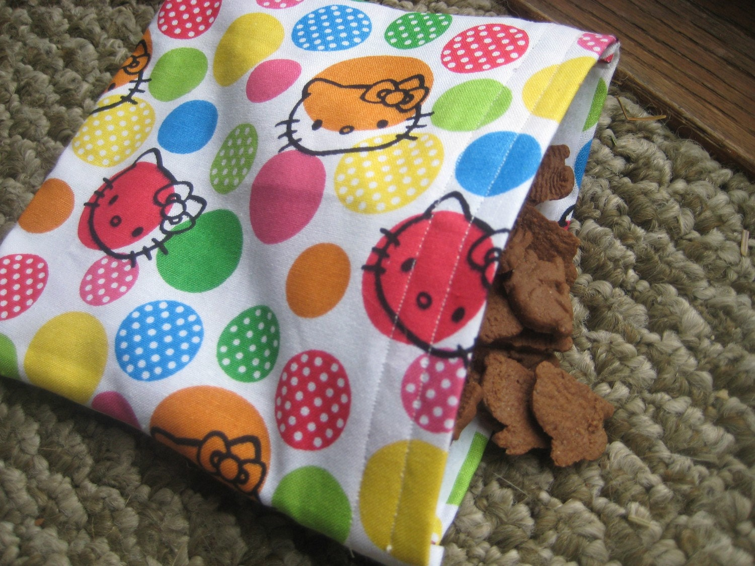 Ready to Ship Reusable Hello Kitty Fabric Snack or Goodie Bag