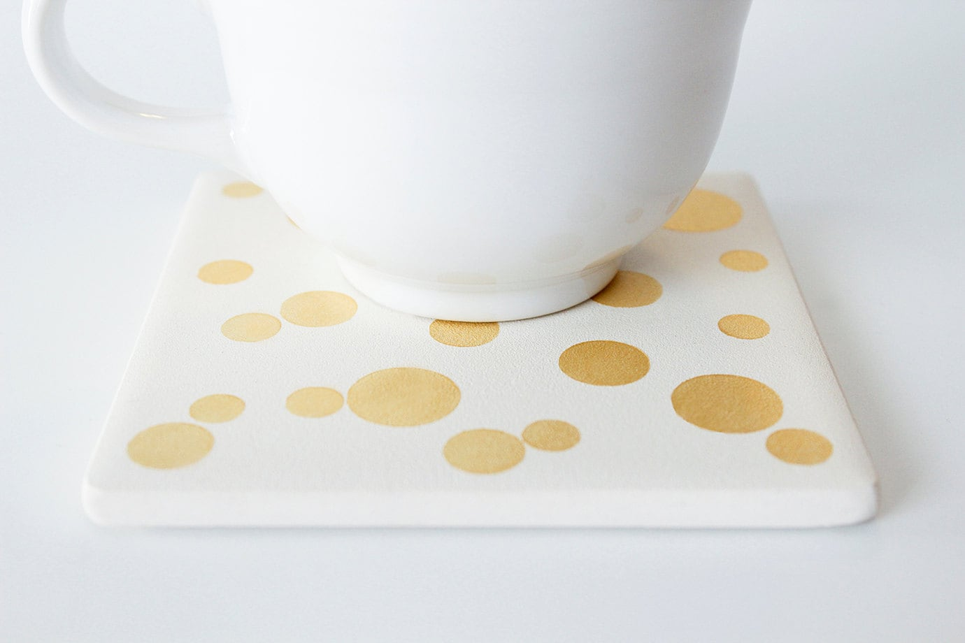 Gold Dotted Coasters Hand Painted White and Gold Ceramic Tile Coasters - Set of 4 Coasters - theCoastal