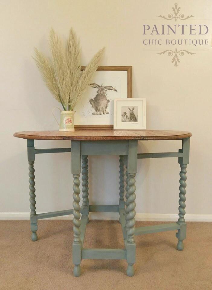 Antique Dining Table  Oak Barley Twist Gateleg Oval Victorian Farmhouse