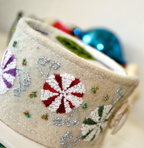 Snow Candy Wrist Cuff Hand Embroidered