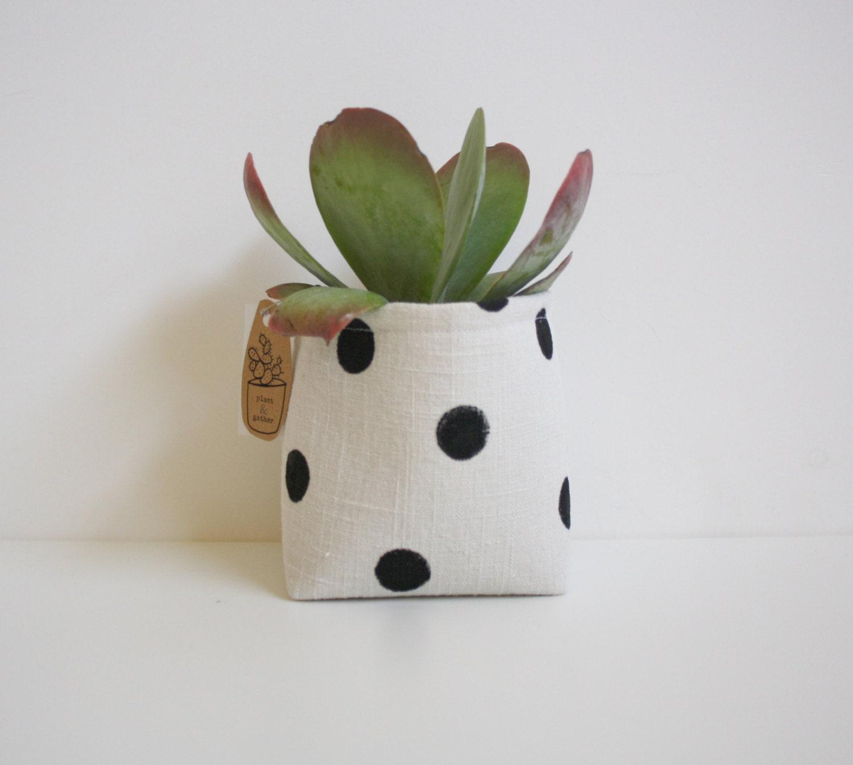 Fabric Planter / Storage / Hand Printed Pot / Polka Dots / Fabric Storage Bin / Gilft Basket / Home Decor - NestaHome