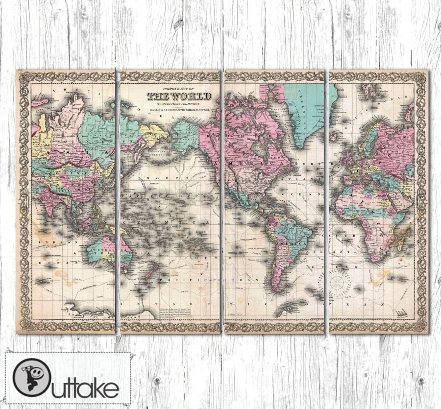 Antique World Map Canvas Art Print Ready To Hang By