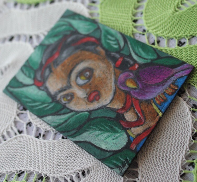 FOR JULIE-ANN - Frida Kahlo aceo - Original Artwork