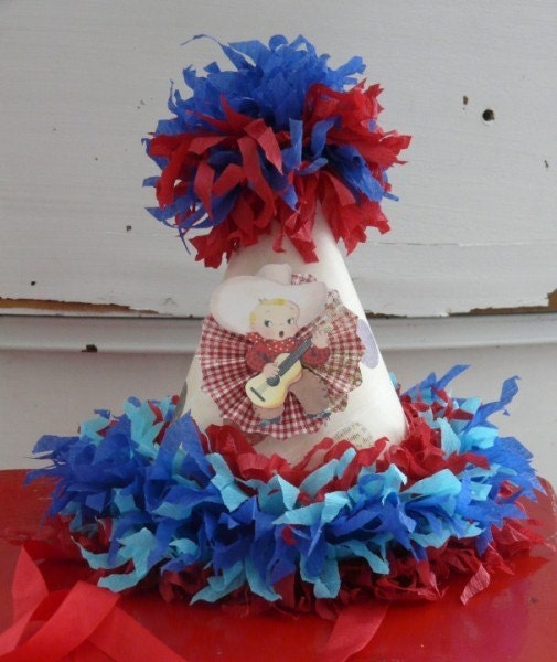 The Blue Cowboy, Vintage Custom Crepe Paper Happy Birthday Party Hat Boutique Choose your colors