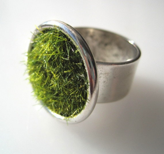 Green Grass Ring in Silver wide Adjustable Band - SeahagAndWalrus