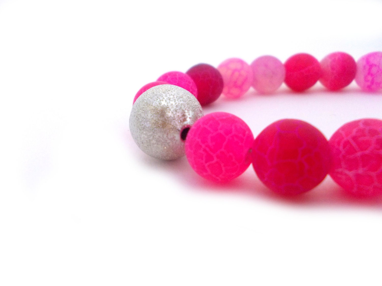 Hot Pink Agate Bracelet, Fuchsia Beaded Bracelet, Agate beaded bracelet, Silver Stardust Jewel, Pink Flambe Agate Bracelet, June Birthstone - EfZinCreations