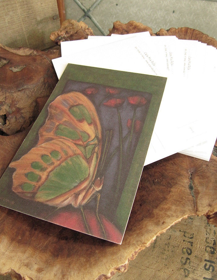 Blissful Butterfly with Scarlet Poppies 4 x 6 Postcard Certified Green Printing and Recycled Paper