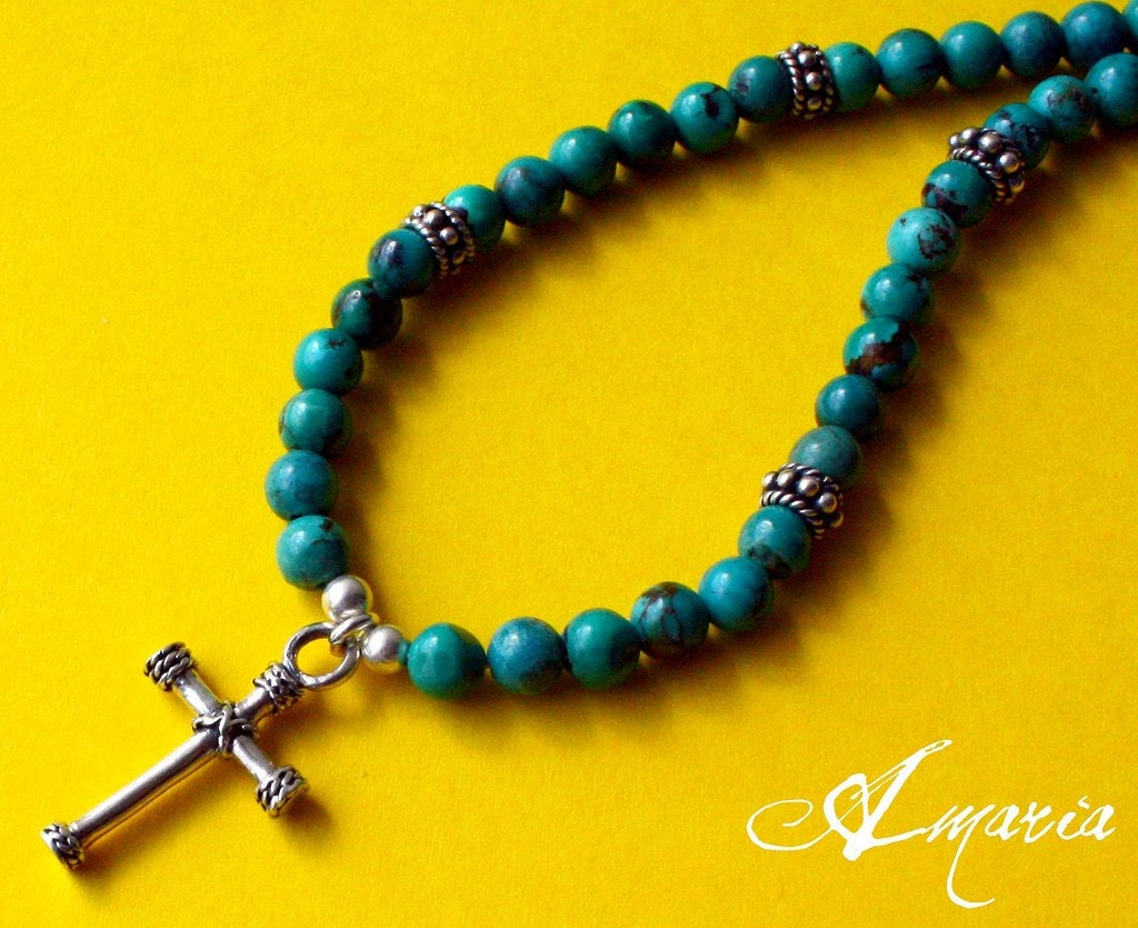 Turquoise necklace with sterling silver cross by amaria on Etsy from etsy.com