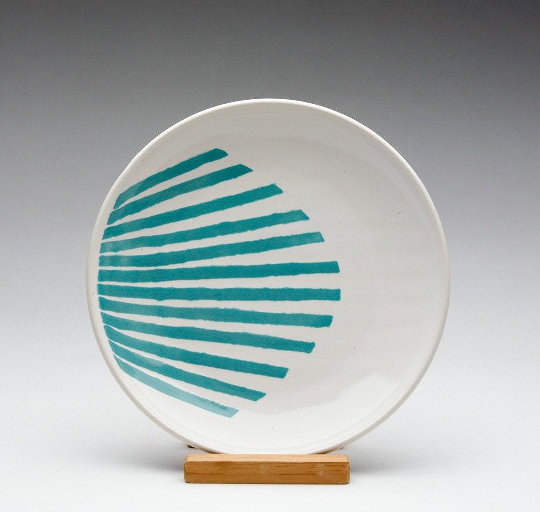Turquoise Striped Fan Plate