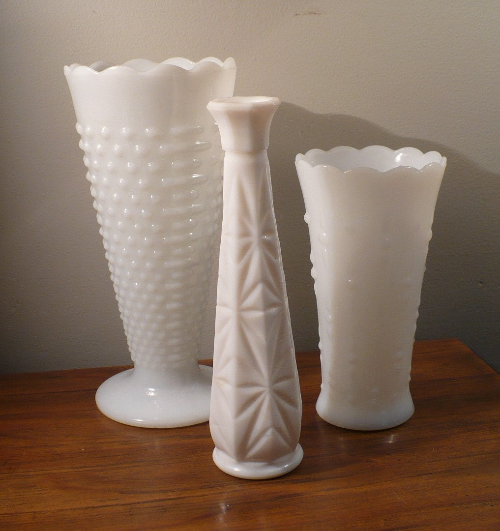 Assorted Milk Glass Vases
