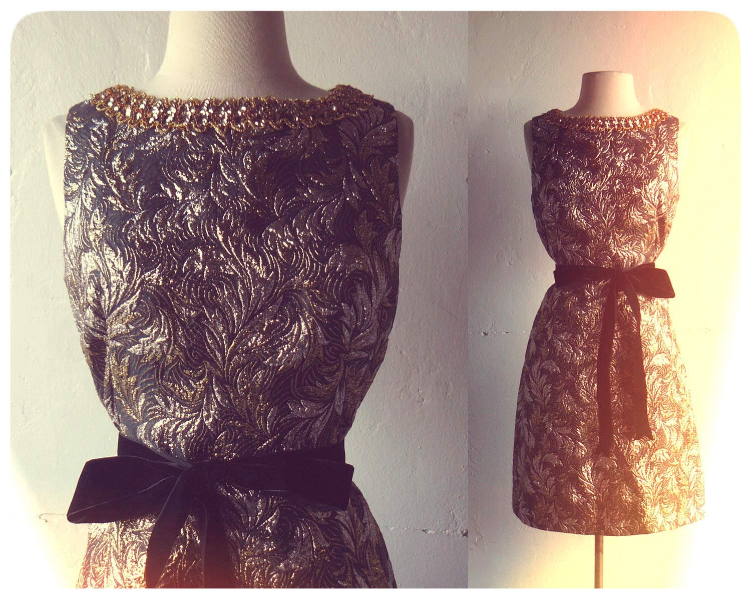 vintage 1950s black and gold jacquard wiggle dress