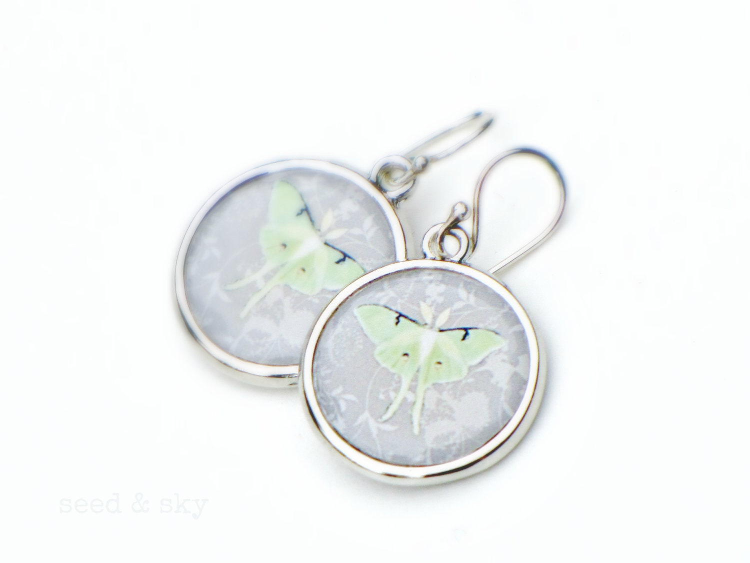 LUNA MOTH EARRINGS -  Double Sided Mint Green Gray Grey Jewelry - Butterfly Moth Earrings - elegant gray jewelry - SeedandSky