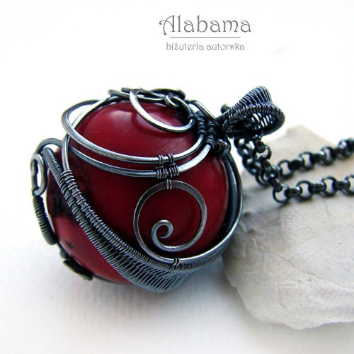 Coral story - unique, unrepeatable, OOAK, modern, oxidised silver pendant with a large ball of red coral - AlabamaStudio