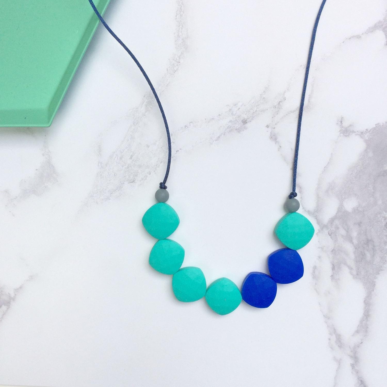 SALE Silicone Teething  Nursing Necklace  Aqua  New Mum Gift  Baby Gift  Teether  Teething Beads