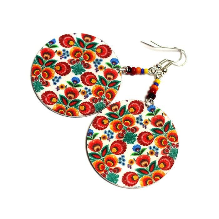 Folk Flowers polish folk art  motif Earrings orange red yellow fall fashion, Gift under 25  (4L) - MADEbyMADA