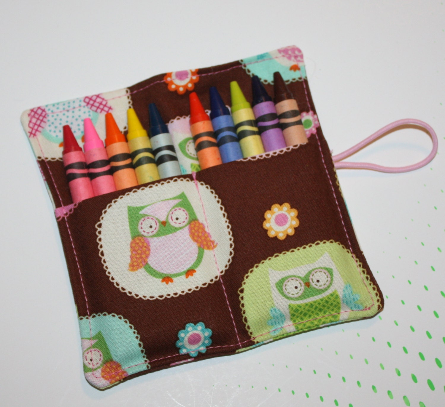 Crayon Roll Sweet Owls Rollup, holds up to 10 Crayons Crayon Roll Party Favors Owls - FrogBlossoms