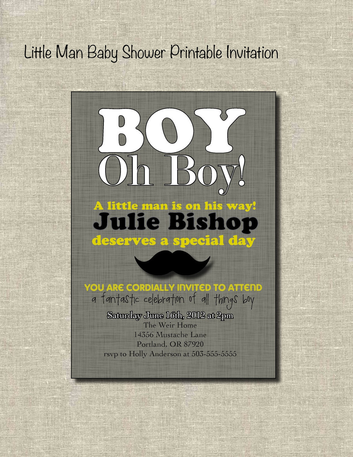 little man baby shower printable invitation