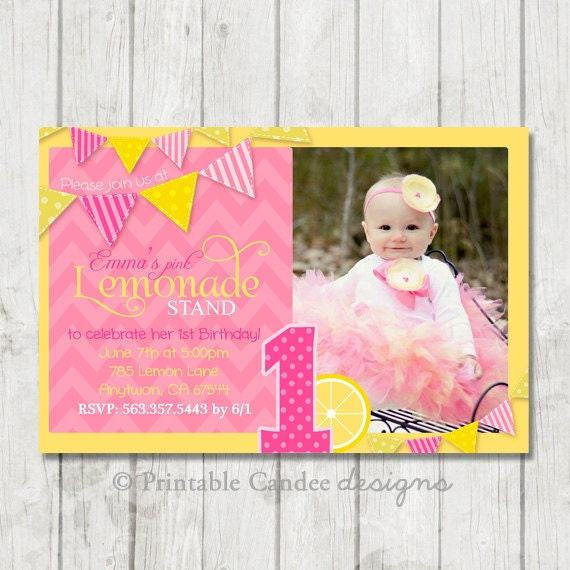 Pink lemonade stand birthday invitation diy by printablecandee for Rsvp stand for on an invitation
