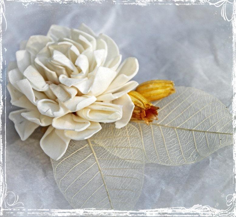 Молоко и Мед зажим для волос или брошь - Свадебные аксессуары - Волосы цветов - кремовый, желтый, золотой, горчица, Кот - Романтический свадьбы