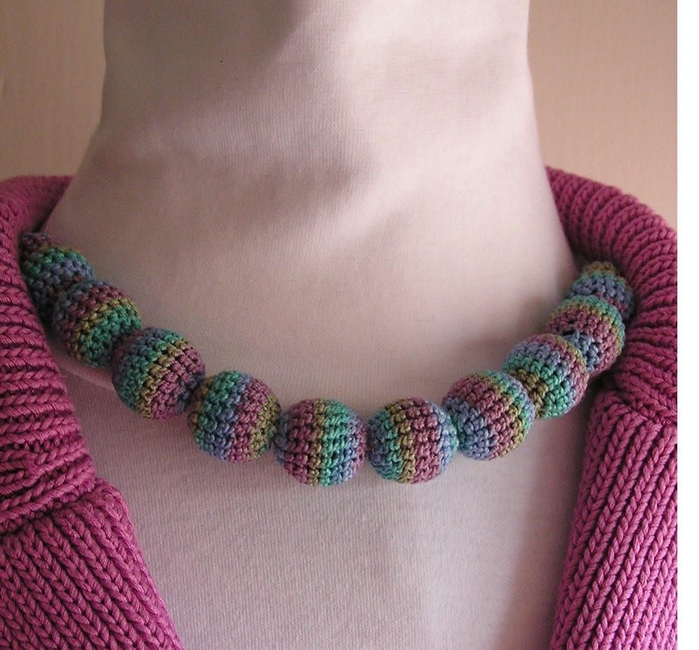 Striped Spring Bead Choker Necklace
