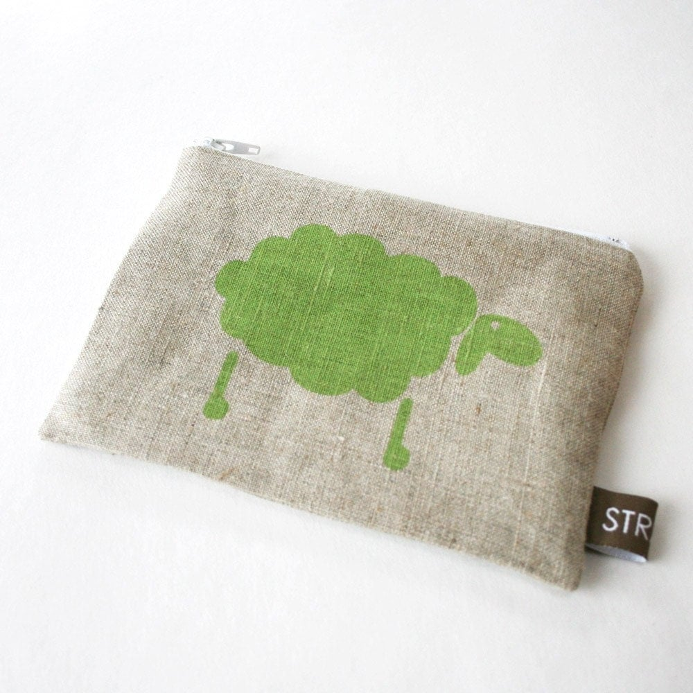 Hand printed pouch with green sheep
