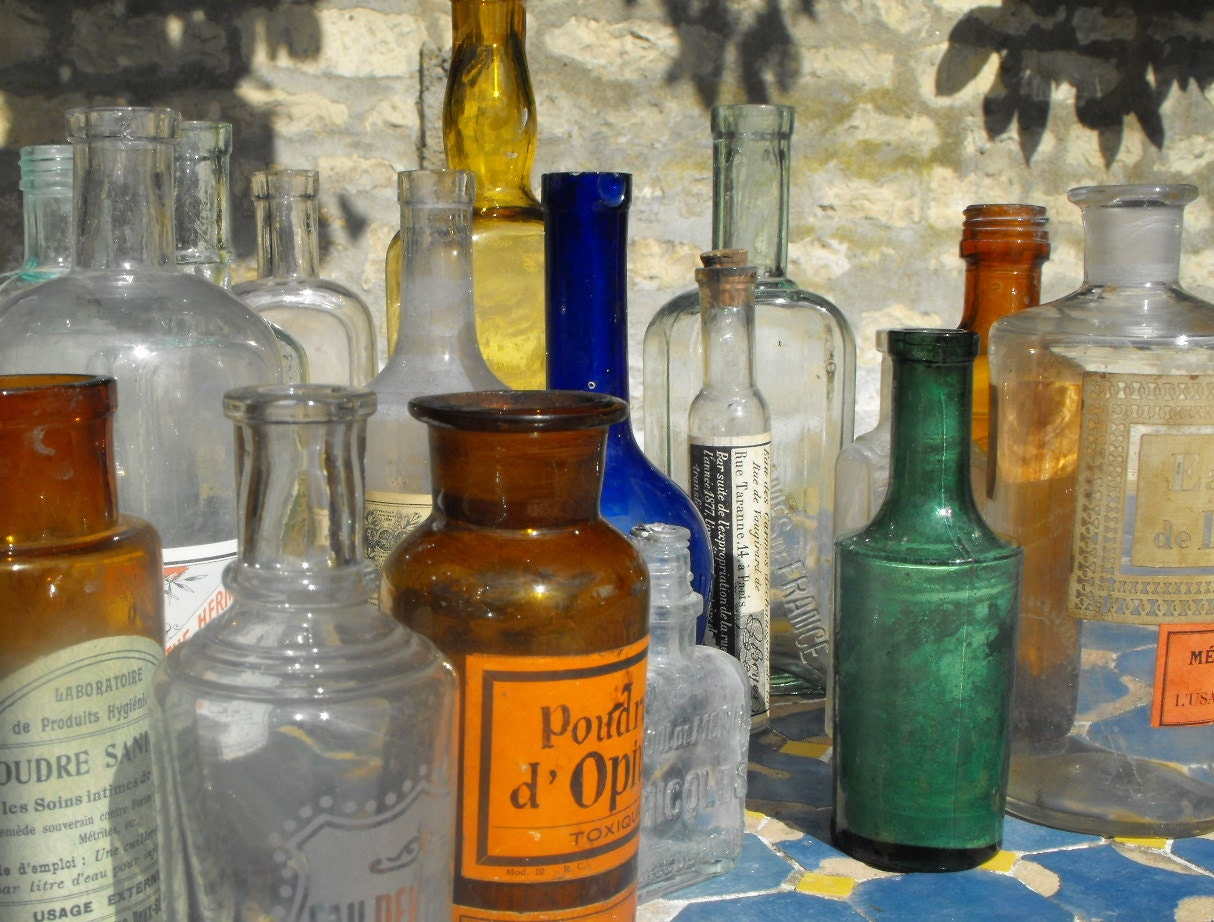 Antique French Medicine Bottles All Different 4 Groups of 6 each