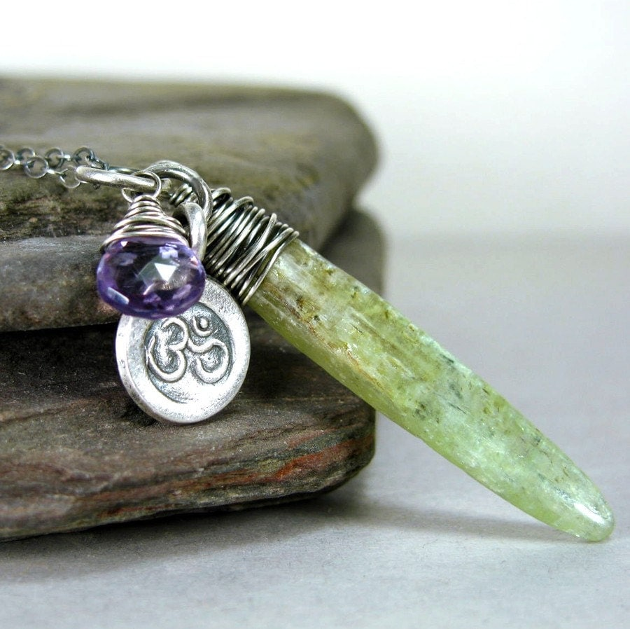 Green Kyanite Faceted Amethyst Om Charm Sterling Silver Necklace