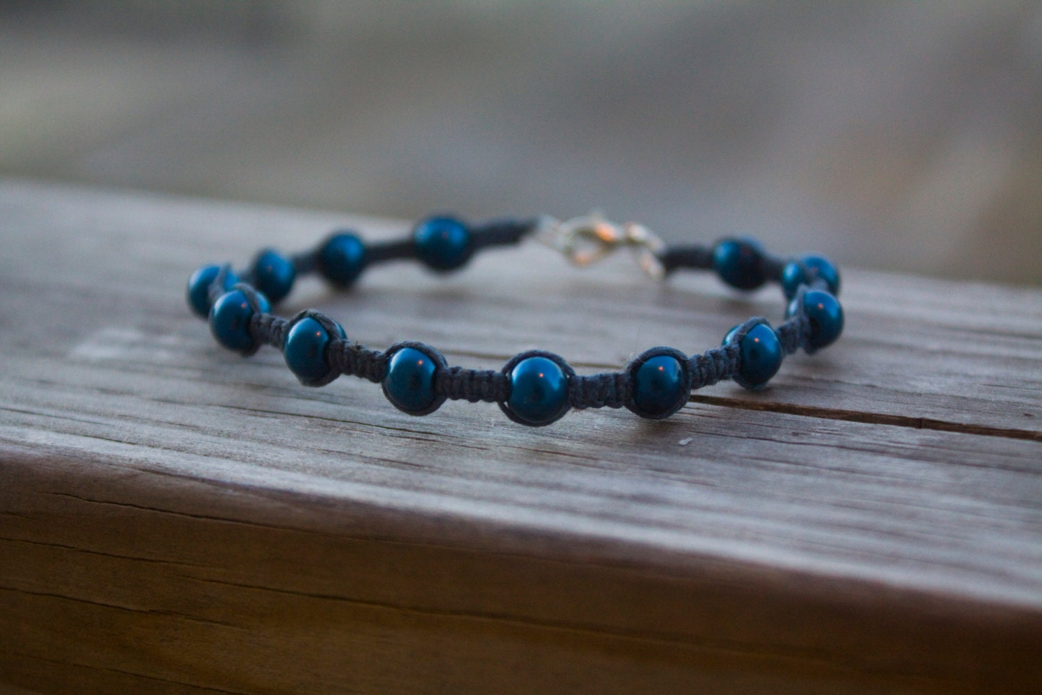 Slate Grey Hemp and Navy Blue Glass Pearl Bead Bracelet - Women's Jewelry - Pearlescent 6mm Spacer Beads - WingoWorks