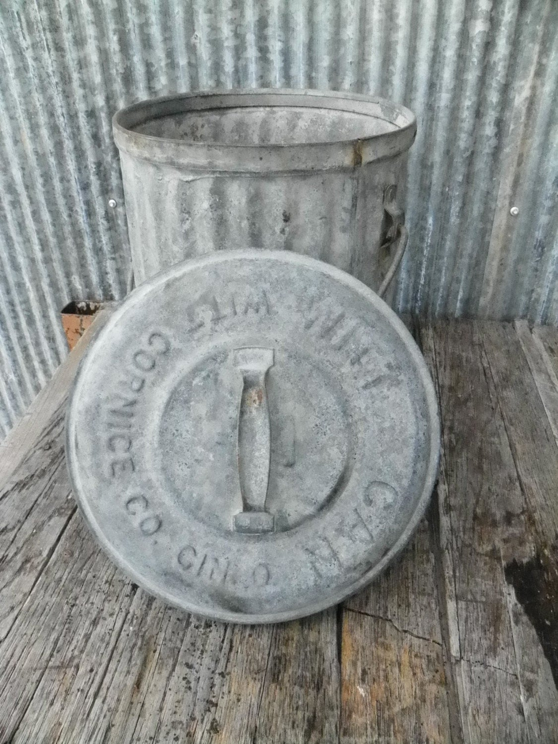 Vintage Industrial Factory Galvanized Trash Can With By